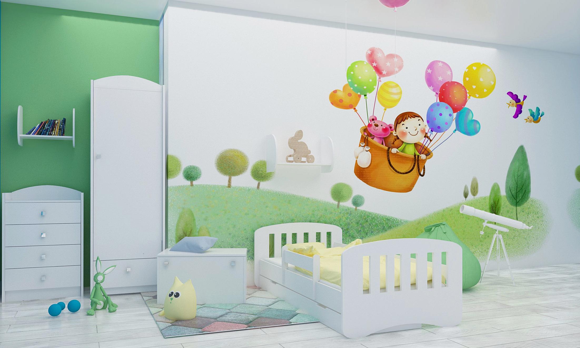 Happy Babies Detská posteľ Happy dizajn/čiarky Farba: Biela / biela, Prevedenie: L04 / 80 x 160 cm /S úložným priestorom, Obrázok: Čiarky