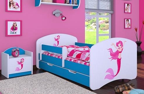 Happy Babies Detská posteľ HAPPY/ 21 Morská panna 160 x 80 cm Farba: Modrá / biela, Prevedenie: L04 / 80 x 160 cm /S úložným priestorom, Obrázok: Morská panna