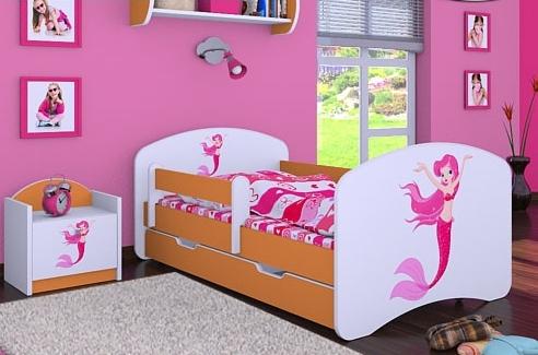 Happy Babies Detská posteľ HAPPY/ 21 Morská panna 160 x 80 cm Farba: Oranžová / Biela, Prevedenie: L04 / 80 x 160 cm /S úložným priestorom, Obrázok: Morská panna