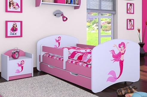 Happy Babies Detská posteľ HAPPY/ 21 Morská panna 160 x 80 cm Farba: Ružová / Biela, Prevedenie: L04 / 80 x 160 cm /S úložným priestorom, Obrázok: Morská panna