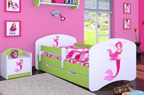 Happy Babies Detská posteľ HAPPY/ 21 Morská panna 160 x 80 cm Farba: Zelená / Biela, Prevedenie: L04 / 80 x 160 cm /S úložným priestorom, Obrázok: Morská panna