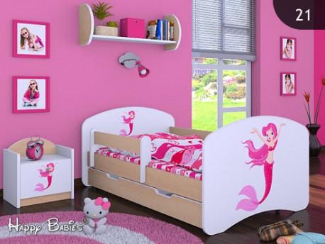Happy Babies Detská posteľ HAPPY/ 21 Morská panna 160 x 80 cm Farba: Hruška / Biela, Prevedenie: L04 / 80 x 160 cm /S úložným priestorom, Obrázok: Morská panna