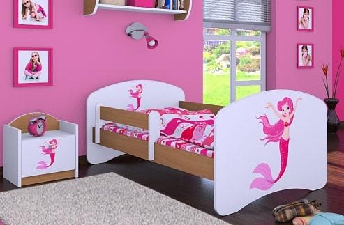 Happy Babies Detská posteľ HAPPY/ 21 Morská panna 160 x 80 cm Farba: Buk / Biela, Prevedenie: L03 / 80 x 160 cm / bez úložného priestoru, Obrázok: Morská panna