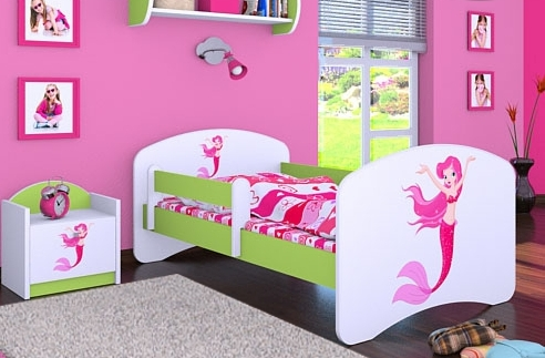 Happy Babies Detská posteľ HAPPY/ 21 Morská panna 160 x 80 cm Farba: Zelená / Biela, Prevedenie: L03 / 80 x 160 cm / bez úložného priestoru, Obrázok: Morská panna