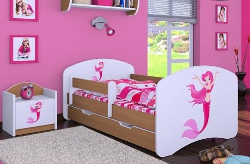 Happy Babies Detská posteľ HAPPY/ 21 Morská panna 160 x 80 cm Farba: Buk / Biela, Prevedenie: L04 / 80 x 160 cm /S úložným priestorom, Obrázok: Morská panna