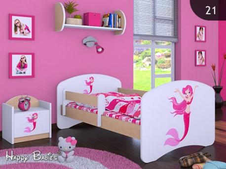Happy Babies Detská posteľ HAPPY/ 21 Morská panna 160 x 80 cm Farba: Hruška / Biela, Prevedenie: L03 / 80 x 160 cm / bez úložného priestoru, Obrázok: Morská panna