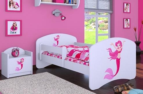 Happy Babies Detská posteľ HAPPY/ 21 Morská panna 160 x 80 cm Farba: Biela / biela, Prevedenie: L03 / 80 x 160 cm / bez úložného priestoru, Obrázok: Morská panna