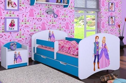 Happy Babies Detská posteľ HAPPY/ 37 Princ a princezná 160 x 80 cm Farba: Modrá / biela, Prevedenie: L04 / 80 x 160 cm /S úložným priestorom