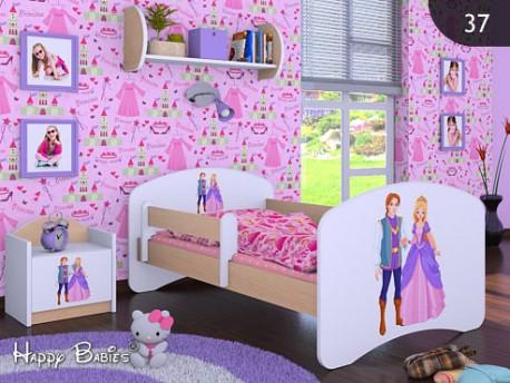 Happy Babies Detská posteľ HAPPY/ 37 Princ a princezná 160 x 80 cm Farba: Hruška / Biela, Prevedenie: L03 / 80 x 160 cm / bez úložného priestoru