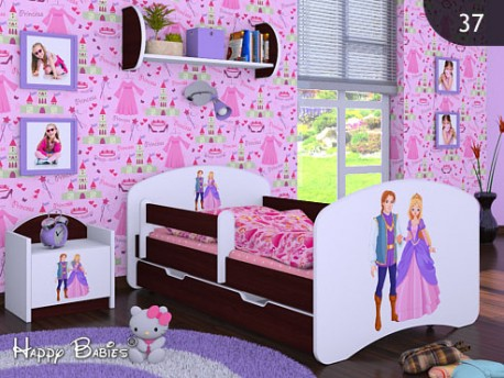 Happy Babies Detská posteľ HAPPY/ 37 Princ a princezná 160 x 80 cm Farba: Gaštan Wenge / Biela, Prevedenie: L04 / 80 x 160 cm /S úložným priestorom