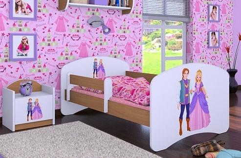 Happy Babies Detská posteľ HAPPY/ 37 Princ a princezná 160 x 80 cm Farba: Buk / Biela, Prevedenie: L03 / 80 x 160 cm / bez úložného priestoru