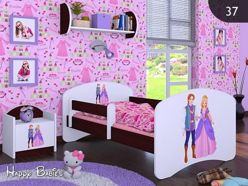 Happy Babies Detská posteľ HAPPY/ 37 Princ a princezná 160 x 80 cm Farba: Gaštan Wenge / Biela, Prevedenie: L03 / 80 x 160 cm / bez úložného priestoru