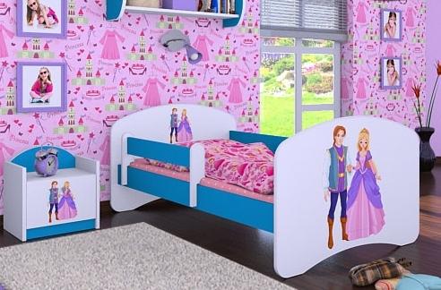 Happy Babies Detská posteľ HAPPY/ 37 Princ a princezná 160 x 80 cm Farba: Modrá / biela, Prevedenie: L03 / 80 x 160 cm / bez úložného priestoru
