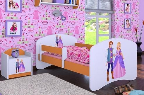 Happy Babies Detská posteľ HAPPY/ 37 Princ a princezná 160 x 80 cm Farba: Oranžová / Biela, Prevedenie: L03 / 80 x 160 cm / bez úložného priestoru