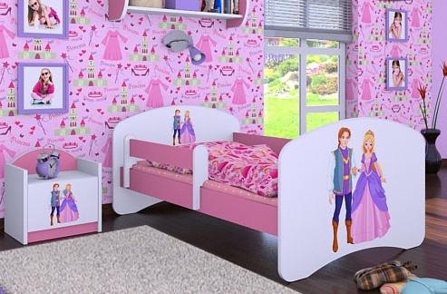 Happy Babies Detská posteľ HAPPY/ 37 Princ a princezná 160 x 80 cm Farba: Ružová / Biela, Prevedenie: L03 / 80 x 160 cm / bez úložného priestoru
