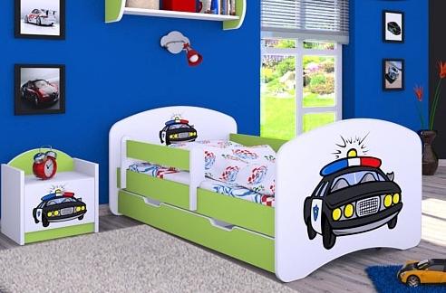 Happy Babies Detská posteľ HAPPY/ 54 Policajné auto 160 x 80 cm Farba: Zelená / Biela, Prevedenie: L04 / 80 x 160 cm /S úložným priestorom