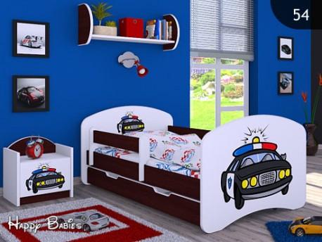 Happy Babies Detská posteľ HAPPY/ 54 Policajné auto 160 x 80 cm Farba: Gaštan Wenge / Biela, Prevedenie: L04 / 80 x 160 cm /S úložným priestorom