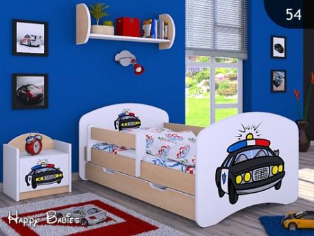 Happy Babies Detská posteľ HAPPY/ 54 Policajné auto 160 x 80 cm Farba: Hruška / Biela, Prevedenie: L04 / 80 x 160 cm /S úložným priestorom