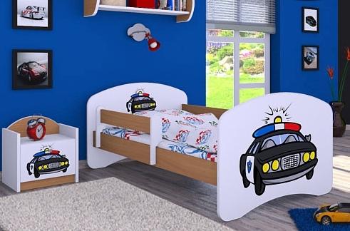 Happy Babies Detská posteľ HAPPY/ 54 Policajné auto 160 x 80 cm Farba: Buk / Biela, Prevedenie: L03 / 80 x 160 cm / bez úložného priestoru