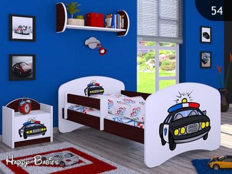 Happy Babies Detská posteľ HAPPY/ 54 Policajné auto 160 x 80 cm Farba: Gaštan Wenge / Biela, Prevedenie: L03 / 80 x 160 cm / bez úložného priestoru