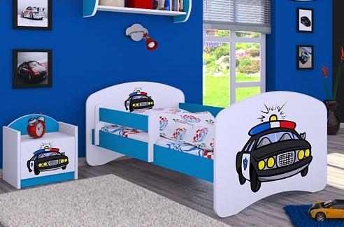 Happy Babies Detská posteľ HAPPY/ 54 Policajné auto 160 x 80 cm Farba: Modrá / biela, Prevedenie: L03 / 80 x 160 cm / bez úložného priestoru