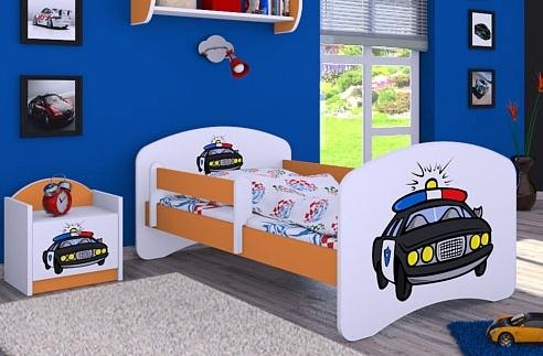 Happy Babies Detská posteľ HAPPY/ 54 Policajné auto 160 x 80 cm Farba: Oranžová / Biela, Prevedenie: L03 / 80 x 160 cm / bez úložného priestoru