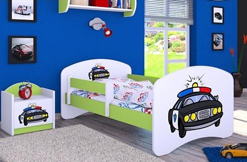 Happy Babies Detská posteľ HAPPY/ 54 Policajné auto 160 x 80 cm Farba: Zelená / Biela, Prevedenie: L03 / 80 x 160 cm / bez úložného priestoru