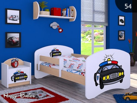 Happy Babies Detská posteľ HAPPY/ 54 Policajné auto 160 x 80 cm Farba: Hruška / Biela, Prevedenie: L03 / 80 x 160 cm / bez úložného priestoru