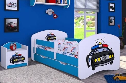 Happy Babies Detská posteľ HAPPY/ 54 Policajné auto 160 x 80 cm Farba: Modrá / biela, Prevedenie: L04 / 80 x 160 cm /S úložným priestorom