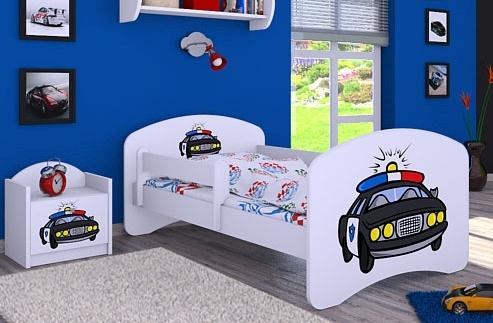 Happy Babies Detská posteľ HAPPY/ 54 Policajné auto 160 x 80 cm Farba: Biela / biela, Prevedenie: L03 / 80 x 160 cm / bez úložného priestoru