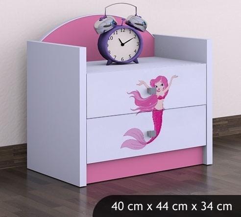 Happy Babies Nočný stolík HAPPY/ 21 Morská panna SZN01 Farba: Ružová, Prevedenie: Dve zásuvky
