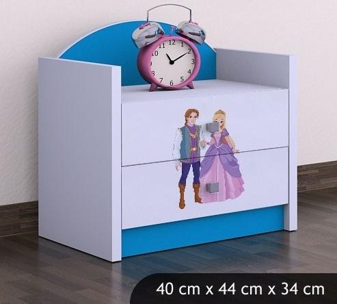 Happy Babies Nočný stolík HAPPY/ 37 Princ a princezná SZN01 Farba: Modrá, Prevedenie: Dve zásuvky