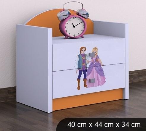 Happy Babies Nočný stolík HAPPY/ 37 Princ a princezná SZN01 Farba: Oranžová, Prevedenie: Dve zásuvky