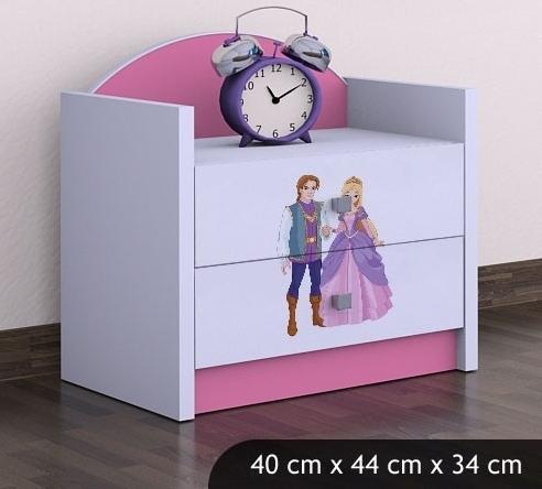 Happy Babies Nočný stolík HAPPY/ 37 Princ a princezná SZN01 Farba: Ružová, Prevedenie: Dve zásuvky