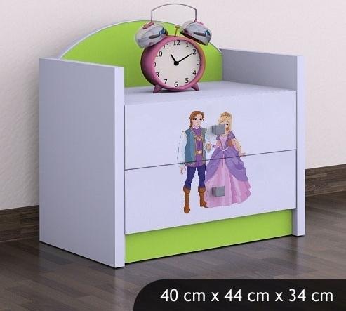 Happy Babies Nočný stolík HAPPY/ 37 Princ a princezná SZN01 Farba: Zelená, Prevedenie: Dve zásuvky