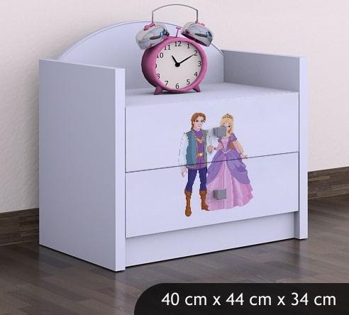 Happy Babies Nočný stolík HAPPY/ 37 Princ a princezná SZN01 Farba: Biela, Prevedenie: Dve zásuvky