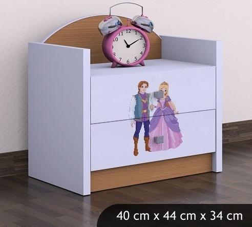 Happy Babies Nočný stolík HAPPY/ 37 Princ a princezná SZN01 Farba: Buk, Prevedenie: Dve zásuvky