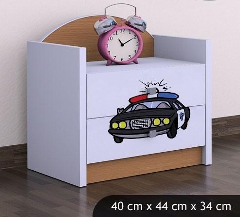 Happy Babies Nočný stolík HAPPY/ 54 Policajné auto SZN01 Farba: Buk, Prevedenie: Dve zásuvky