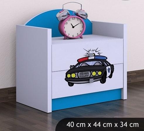 Happy Babies Nočný stolík HAPPY/ 54 Policajné auto SZN01 Farba: Modrá, Prevedenie: Dve zásuvky