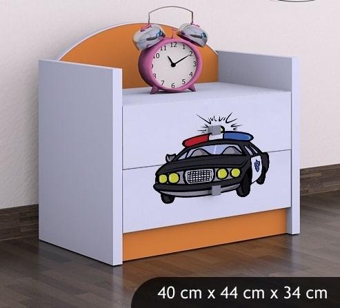 Happy Babies Nočný stolík HAPPY/ 54 Policajné auto SZN01 Farba: Oranžová, Prevedenie: Dve zásuvky