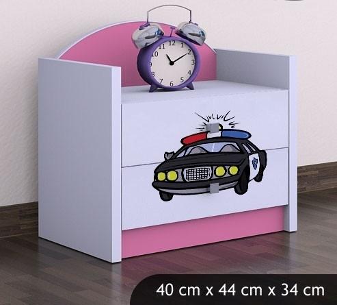 Happy Babies Nočný stolík HAPPY/ 54 Policajné auto SZN01 Farba: Ružová, Prevedenie: Dve zásuvky