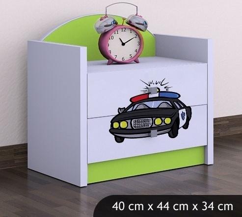 Happy Babies Nočný stolík HAPPY/ 54 Policajné auto SZN01 Farba: Zelená, Prevedenie: Dve zásuvky