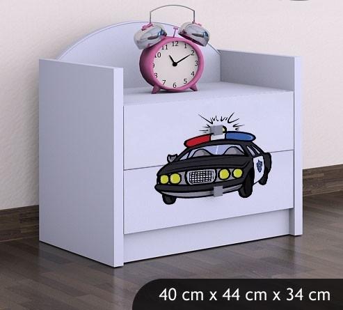 Happy Babies Nočný stolík HAPPY/ 54 Policajné auto SZN01 Farba: Biela, Prevedenie: Dve zásuvky