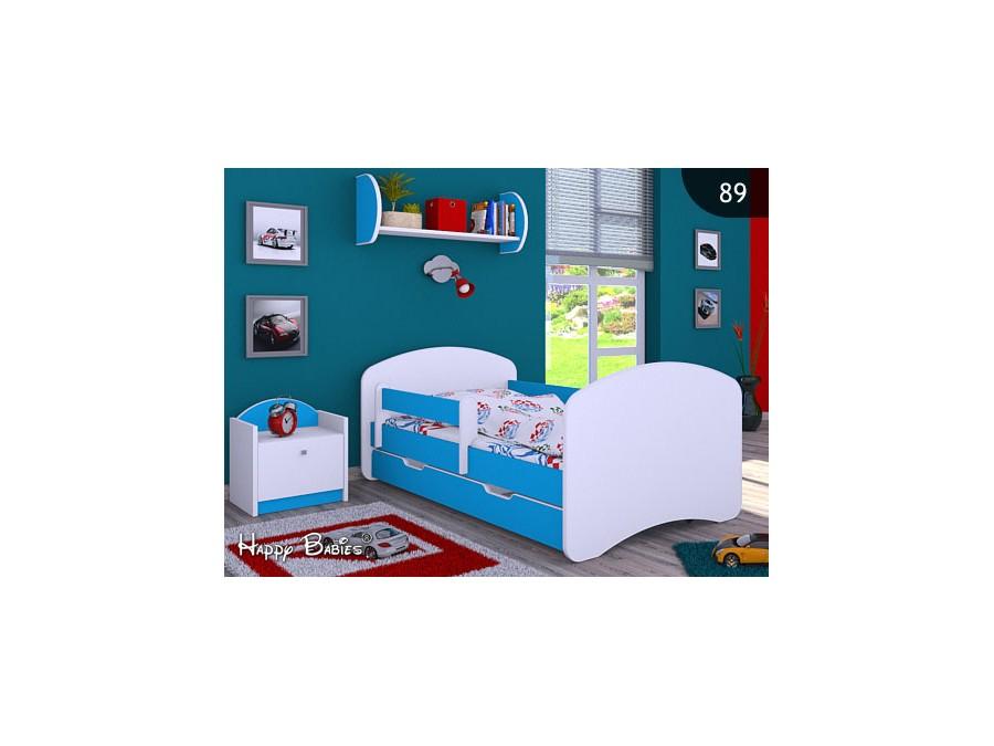Happy Babies Detská posteľ HAPPY L04 160/80 - bez obrázka/s úložným priestorom Farba: Modrá / biela, Prevedenie: 80 x 160 cm /So zásuvkou, Obrázok: Bez obrázku
