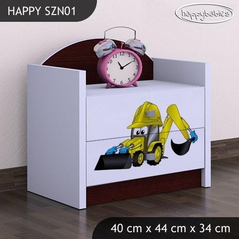 Happy Babies Nočný stolík HAPPY/Bager SZN01 Farba: Gaštan Wenge / Biela, Prevedenie: Dve zásuvky, Obrázok: Bager