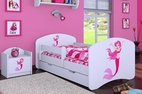 Happy Babies Detská posteľ HAPPY/ 21 Morská panna 180 x 90 cm Farba: Biela / biela, Prevedenie: L06 / 90 x 180 cm / S úložným priestorom, Obrázok: Morská panna