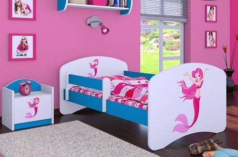 Happy Babies Detská posteľ HAPPY/ 21 Morská panna 180 x 90 cm Farba: Modrá / biela, Prevedenie: L05 / 90 x 180 cm / bez úložného priestoru, Obrázok: Morská panna
