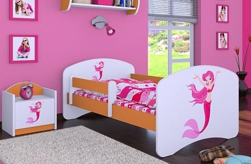 Happy Babies Detská posteľ HAPPY/ 21 Morská panna 180 x 90 cm Farba: Oranžová / Biela, Prevedenie: L05 / 90 x 180 cm / bez úložného priestoru, Obrázok: Morská panna