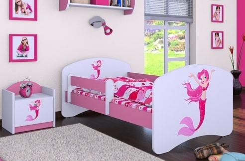 Happy Babies Detská posteľ HAPPY/ 21 Morská panna 180 x 90 cm Farba: Ružová / Biela, Prevedenie: L05 / 90 x 180 cm / bez úložného priestoru, Obrázok: Morská panna
