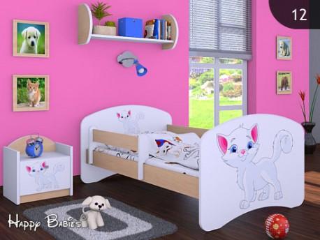 Happy Babies Detská posteľ HAPPY/ 12 Mačička 180 x 90 cm Farba: Hruška / Biela, Prevedenie: L05 / 90 x 180 cm / bez úložného priestoru